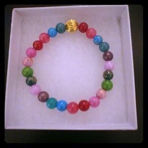 Multicolored Jade Stone Bracelet